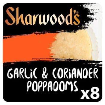 Sharwoods Poppadom Garlic & Coriander 8 Pack