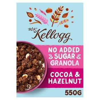 W.K Kellogg No Added Sugar Cocoa & Hazelnut Granola 550G
