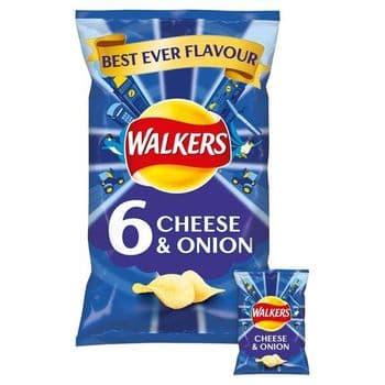 Walkers Cheese & Onion Crisps 6X25g