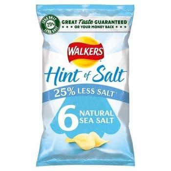 Walkers Hint Of Salt Natural Sea Salt Crisp 6X25g