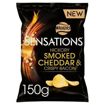 Walkers Sensations Hickory Smoked Cheddar Crispy Bacon150g
