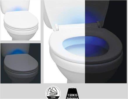 Aqualona White Night Light Soft Closing Toilet Seat
