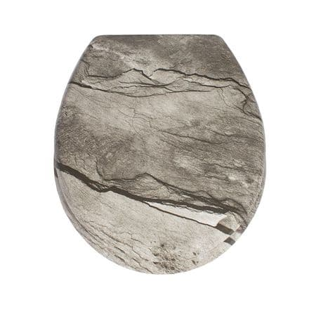 AWD Interiors Grey Stone Effect Toilet Seat