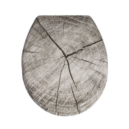 AWD Interiors Grey Wood Effect Toilet Seat
