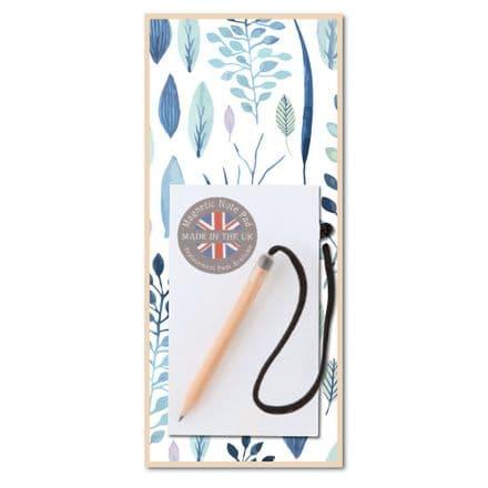 Blue Leaf Magnetic Notepad