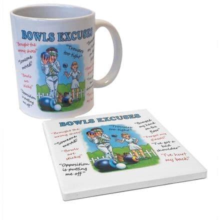 Bowls Excuses Ceramic Mug and Coaster Set