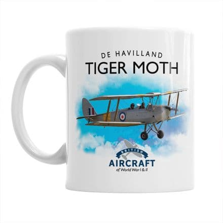 British Aircraft of WWI & WWII Mug:  De Havilland Tiger Moth