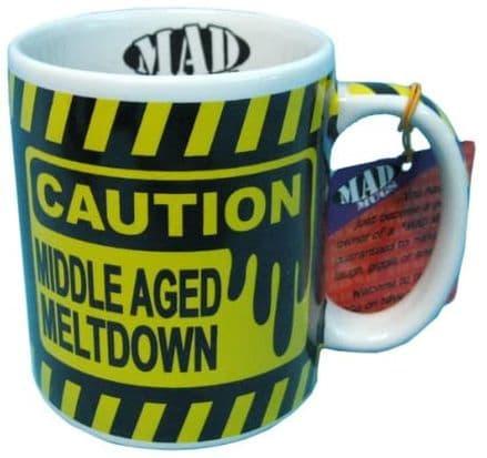 CAUTION: MIDDLE AGE MELTDOWN Funny Ceramic Mug
