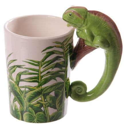 Chameleon Shaped Handle Mug with Safari Decal
