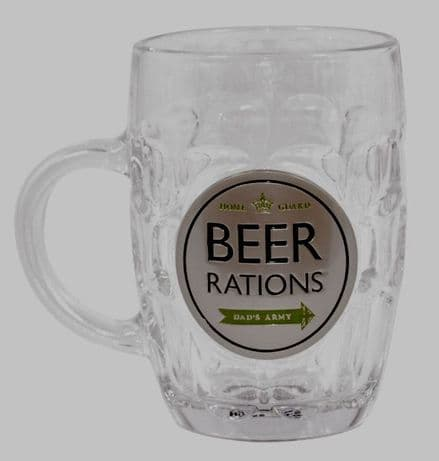 "Dad's Army ""Beer Rations"" Glass Tankard"