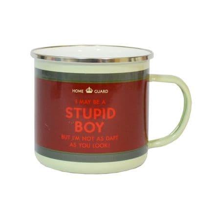 Dad's Army Don't Panic Stupid Boy Enamel Mug
