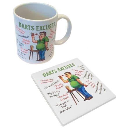 Darts Excuses Ceramic Mug and Coaster Set