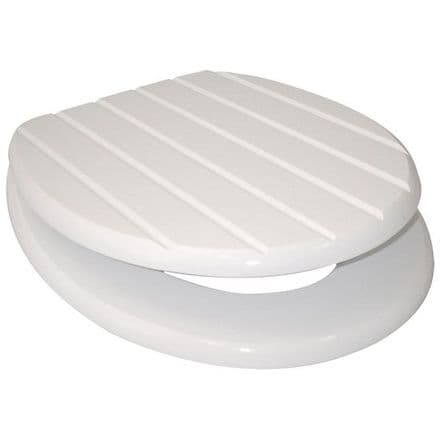 Euroshowers White Grooved MDF Toilet Seat