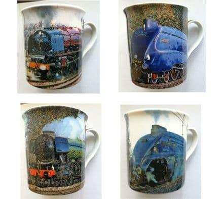 Fine China Mugs Set of 4 - Trains (in presentation box)