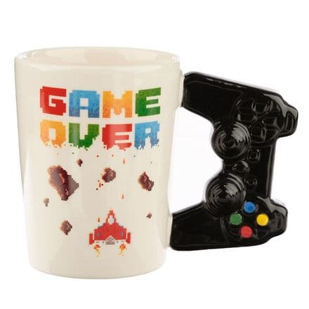 Game Over Ceramic Shaped Handle Mug with Pixel Decal