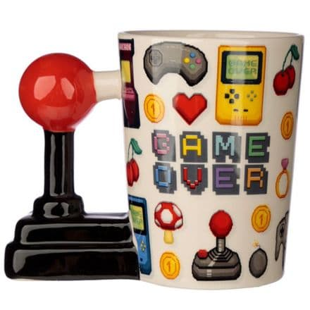 Game Over Joystick Shaped Handle Mug with Pixel Decal