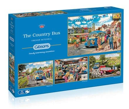 Gibsons  The Country Bus 4 x 500 Piece Jigsaw Puzzles