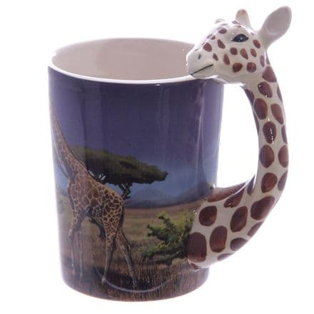 Giraffe Handle Ceramic Mug with Decal