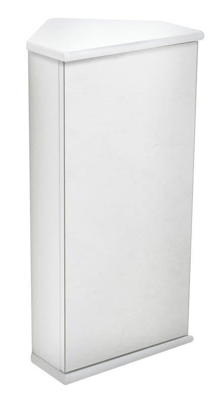 Gloss White Corner Mirrored Bathroom Cabinet