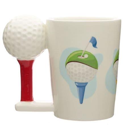 Golf Ball and Tee Shaped Handle Mug