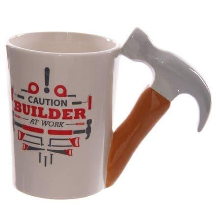 "Hammer Shaped Handle ""Caution Builder at Work"" Mug"