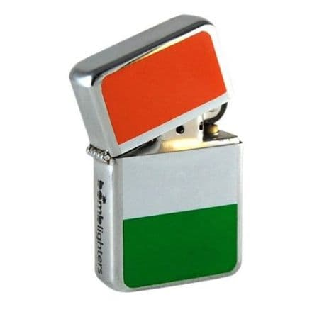 Irish Flag Polished Chrome Windproof Lighter