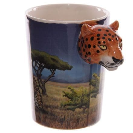 Leopard Shaped Handle Mug with Decal