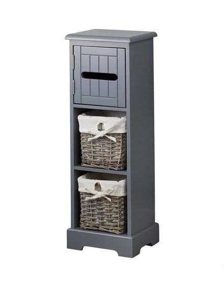 Lloyd Pascal Grey Bathroom Toilet Roll Holder & Storage Unit