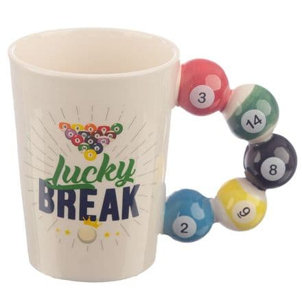 Lucky Break Pool Balls Shaped Handle Ceramic Mug