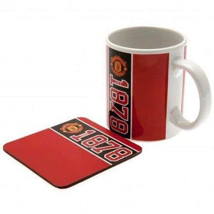 Manchester United FC Established 11oz Mug and Coaster Set