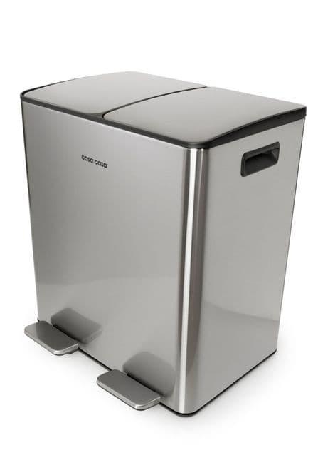 Mayfair 40L Recyle Bin + Internal Kitchen Waste Holder Stainless Steel