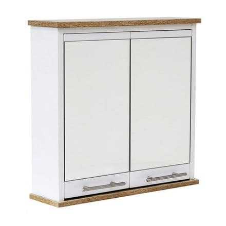 New Hampshire White and Oak Effect Two Mirror-Door Bathroom Cabinet