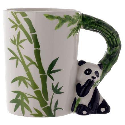 Panda with Bamboo Decal Ceramic Shaped Handle Mug