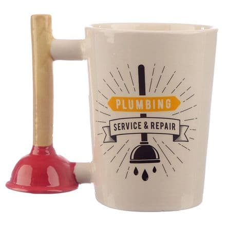 "Plunger Shaped Handle ""Plumbing Service & Repair"" Mug"