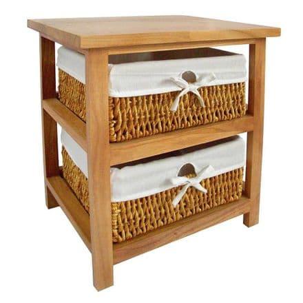 Premier Housewares Honey Wooden Storage Unit with 2 Maize Baskets