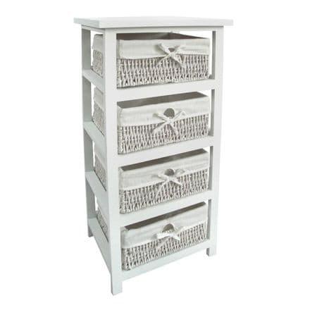 Premier Housewares White Wooden Storage Unit with 4 Maize Baskets 2402189