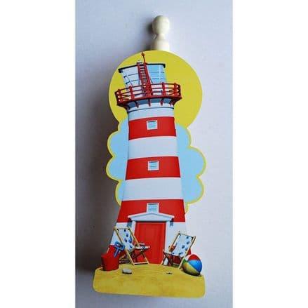 Red & White Lighthouse Kitchen Roll Holder