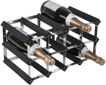RTA 12 Bottle Assembled Black Ash Wine Rack WNRK4100