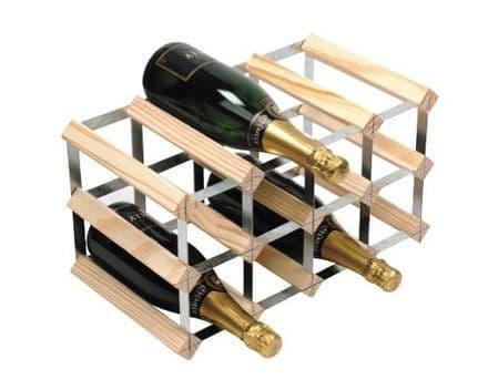 RTA 12 Bottle Assembled Natural Pine Wine Rack WNRK4000