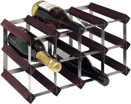 RTA 12 Bottle Assembled Stained Pine Wine Rack WNRK4100