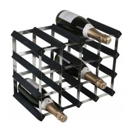 RTA 16 Bottle Assembled Black Ash Wine Rack WNRK4151