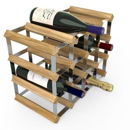 RTA 16 Bottle Assembled Light Oak Stained Pine Wine Rack