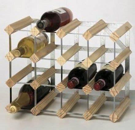 RTA 16 Bottle Assembled Natural Pine Wine Rack WNRK4003