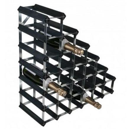 RTA 27 Bottle Under Stairs Wine Rack Assembled Black Ash Finish