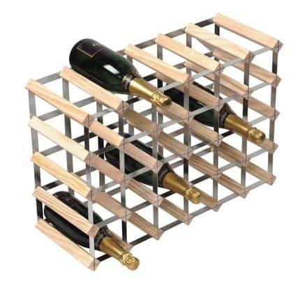 RTA 30 Bottle Assembled Natural Pine Wine Rack WNRK4006