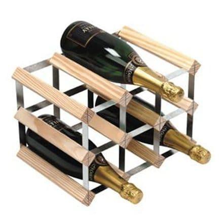 RTA 9 Bottle Assembled Natural Pine Wine Rack WNRK0013