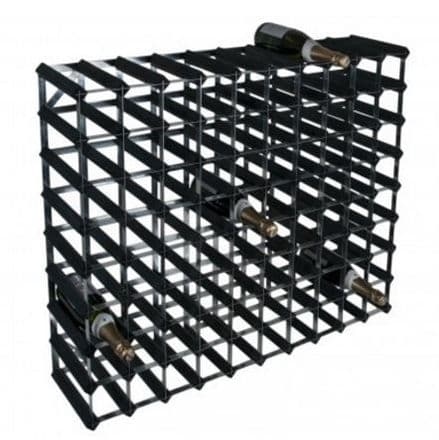 RTA 90 Bottle Black Ash Stained Pine Wine Rack