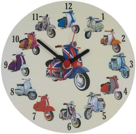 Scooters Collage Wall Clock