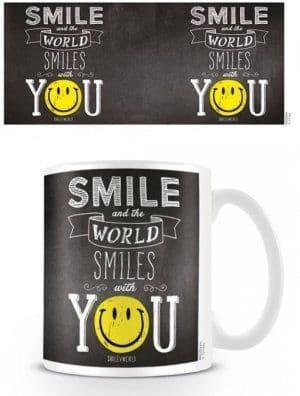 """Smiley """"World Smiles WIth You"""" Mug"""