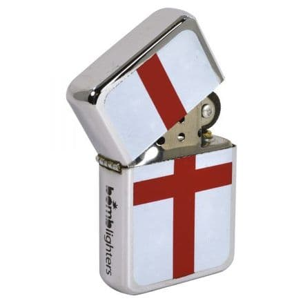 St George's Cross Polished Chrome Windproof Lighter